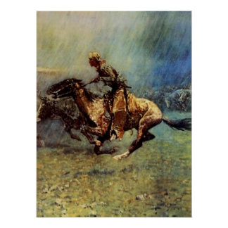 "Frederic Remington Western Art ""The Stampede"" Poster"