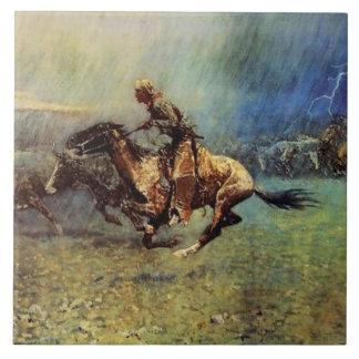 "Frederic Remington Western Art ""The Stampede"" Tile"