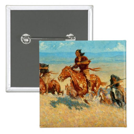 Frederic Remington's The Buffalo Runners (1909) 2 Inch Square Button