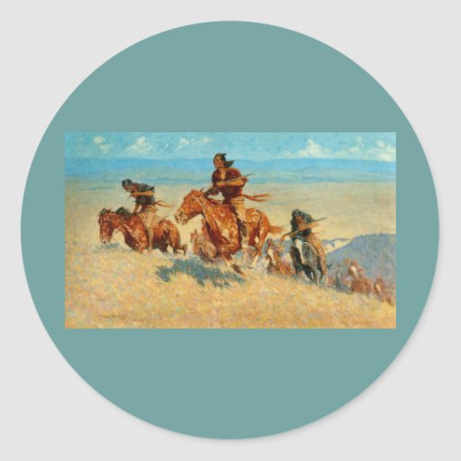 Frederic Remington's The Buffalo Runners (1909) Classic Round Sticker