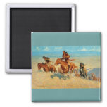Frederic Remington's The Buffalo Runners (1909) 2 Inch Square Magnet