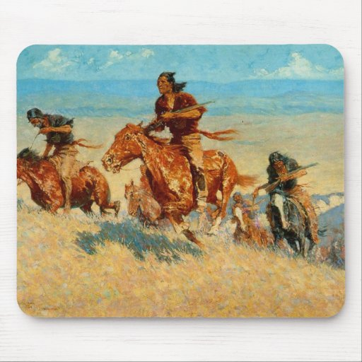 Frederic Remington's The Buffalo Runners (1909) Mousepads
