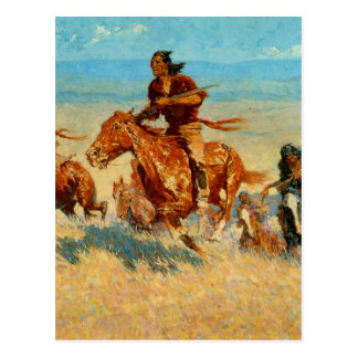 Frederic Remington's The Buffalo Runners (1909) Postcard