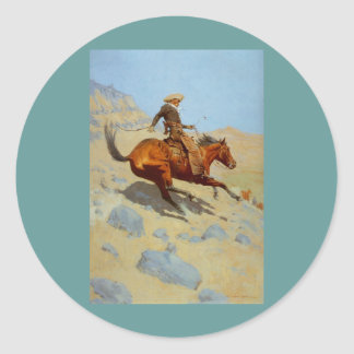 Frederic Remington's The Cowboy (1902) Round Sticker