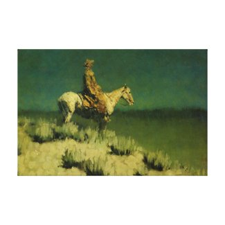 Frederic Remington's The Night Herder (circa 1908) Stretched Canvas Print