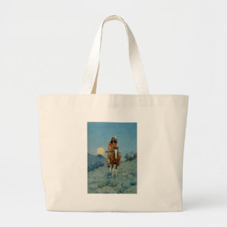 Frederic Remington's The Outlier 1909 Large Tote Bag
