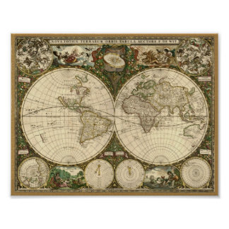 Frederick de Wit 1660 Map of the World Print