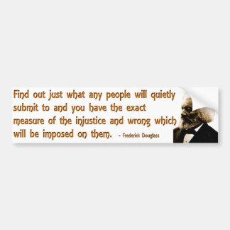 Frederick Douglass en injusticia y silencio Pegatina Para Auto