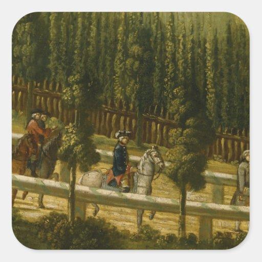 Frederick el grande a caballo pegatinas cuadradases