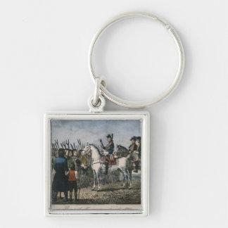 Frederick el grande con los granjeros llavero cuadrado plateado