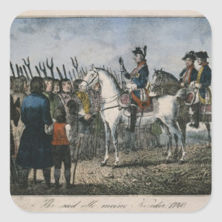 Frederick el grande con los granjeros pegatina cuadrada