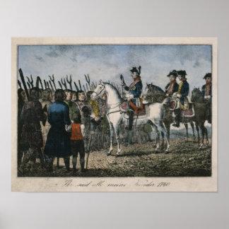 Frederick el grande con los granjeros póster