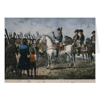 Frederick el grande con los granjeros tarjeta de felicitación