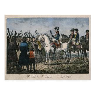 Frederick el grande con los granjeros tarjeta postal