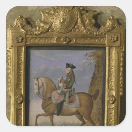 Frederick II a caballo Calcomanía Cuadradase