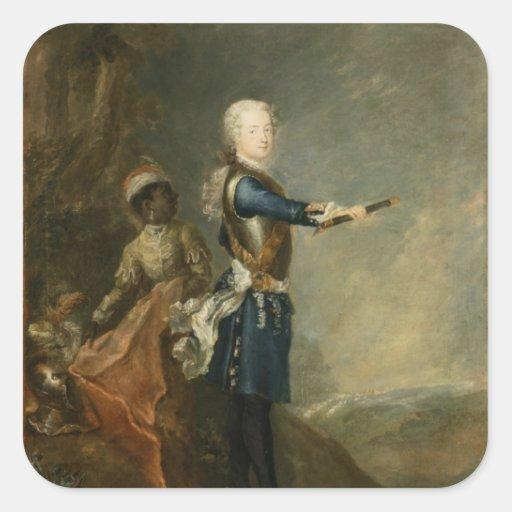Frederick II como Príncipe heredero, c.1735 Calcomania Cuadrada Personalizada