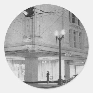 Frederick & Nelson, night view c1952 Classic Round Sticker