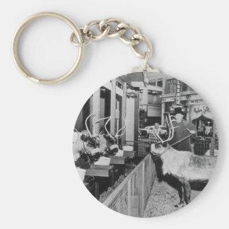 Frederick & Nelson Raindeer in the Window Basic Round Button Keychain
