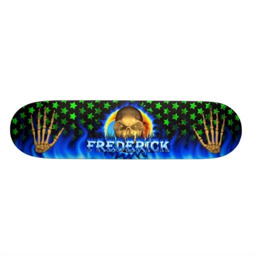 Frederick skull blue fire and flames skateboard de