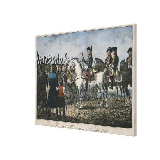 Frederick the Great with the farmers Stretched Canvas Print
