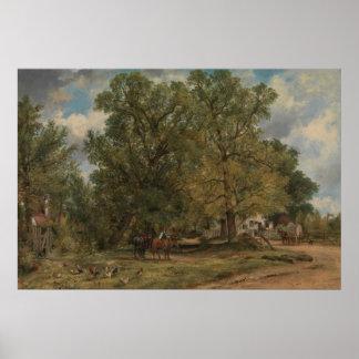 Frederick W. Watts - paisaje con las cabañas Póster