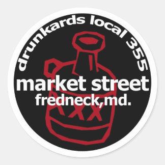 Frednecks Drunkard Decal (sheet of 6) Classic Round Sticker