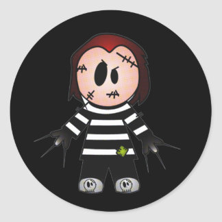 FREDWARD THE CUTE BUT SPOOKY FREAKY KID CLASSIC ROUND STICKER
