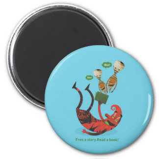 Free a story - read a book! 2 inch round magnet