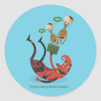 Free a story - read a book! classic round sticker