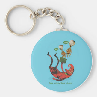 Free a story - read a book! basic round button keychain