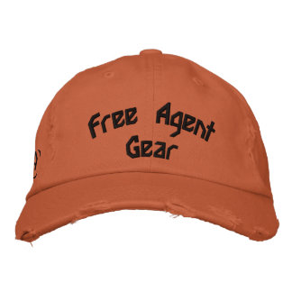 FREE $ AGENT GEAR,orange,distressed,hat Embroidered Baseball Hat