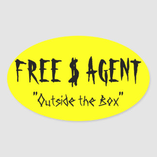 FREE $ AGENT GEAR,yellow,oval,stickers Oval Sticker