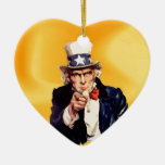 Free America Uncle Sam Double-Sided Heart Ceramic Christmas Ornament