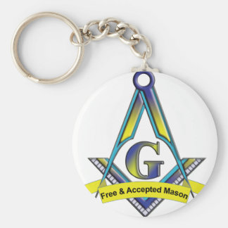 Free and Accepted Masons Basic Round Button Keychain