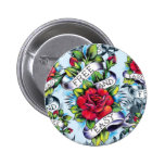 Free and Easy old school tattoo roses and banner Pinback Buttons