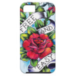 Free and Easy old school tattoo roses and banner iPhone 5 Cases