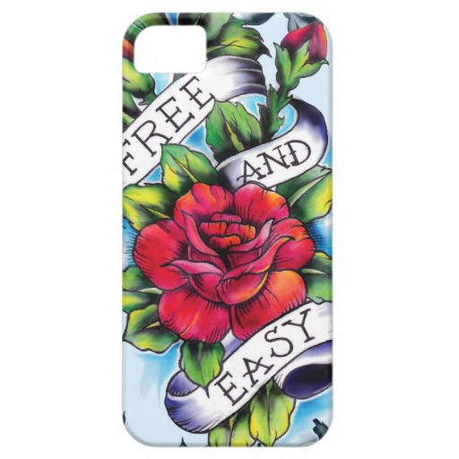 Free and Easy old school tattoo roses and banner iPhone 5 Covers