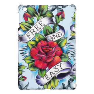Free and Easy old school tattoo roses and banner Cover For The iPad Mini