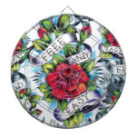 Free and Easy old school tattoo roses and banner Dartboard With Darts