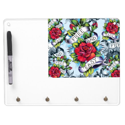 Free and Easy old school tattoo roses and banner Dry Erase Board With Keychain Holder