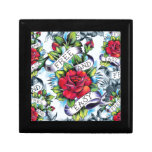 Free and Easy old school tattoo roses and banner Jewelry Box