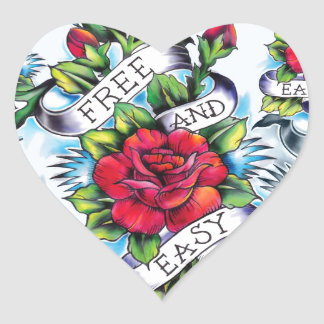 Free and Easy old school tattoo roses and banner Heart Sticker