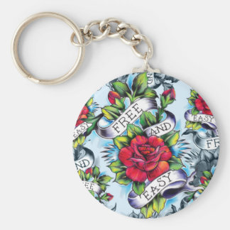 Free and Easy old school tattoo roses and banner Keychain