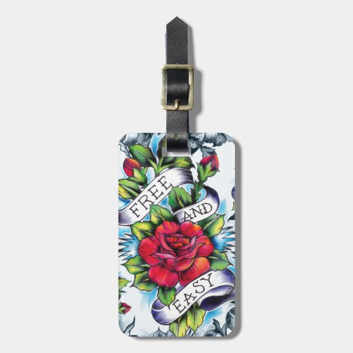 Free and Easy old school tattoo roses and banner Luggage Tags