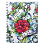 Free and Easy old school tattoo roses and banner Notebooks