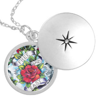 Free and Easy old school tattoo roses and banner Round Locket Necklace