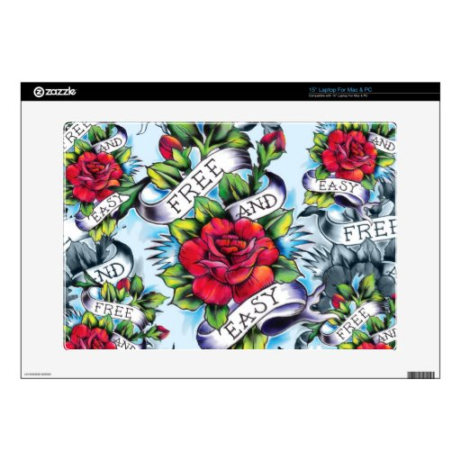 """Free and Easy old school tattoo roses and banner Skins For 15"""" Laptops"""