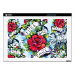 Free and Easy old school tattoo roses and banner Skins For Laptops