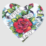 Free and Easy old school tattoo roses and banner Stickers