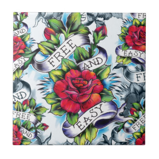 Free and Easy old school tattoo roses and banner Tile